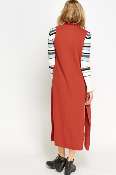 Longline Sleeveless Rust Cardigan