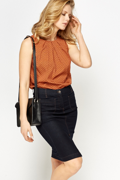 Rust Patterned Shell Top