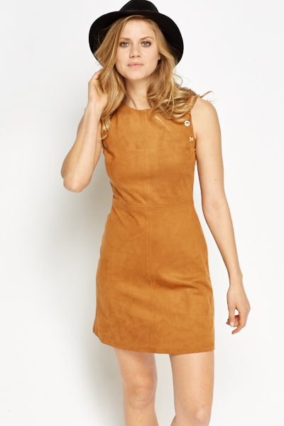 Suedette Contrast Front Mini Dress