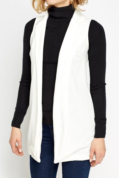 White Sleeveless Long Cardigan - Just £5