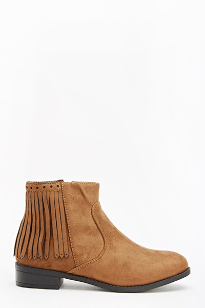 Ankle Fringed Back Boots