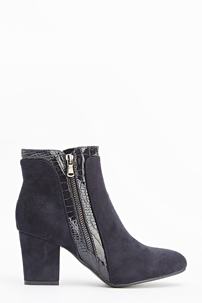 Blue Mock Croc Trim Boots