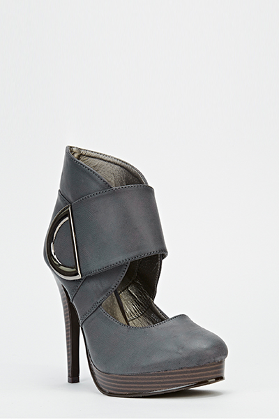 Chunky Strap Tapered Heels