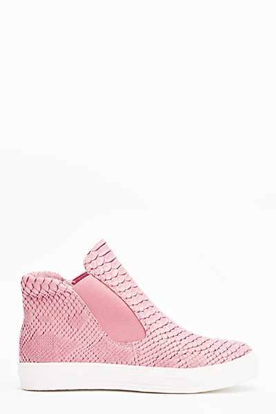 Dark Pink Mock Croc Trainers