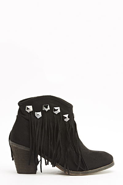 Studded Trim Fringed Boots