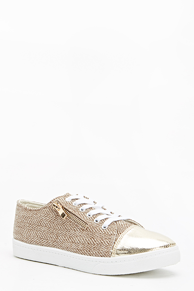 Textured Contrast Canvas Trainers