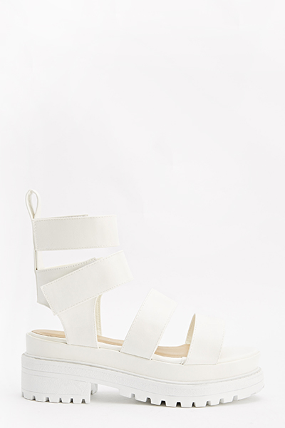 White Chunky Strap Sandals