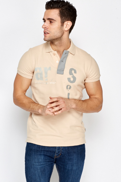 Beige Printed Polo Shirt