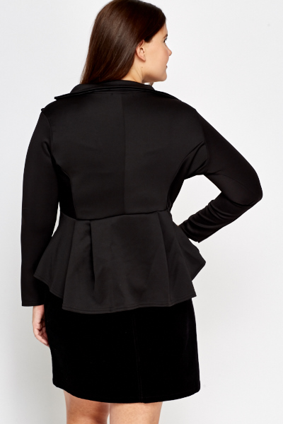 Black Flared Hem Blazer