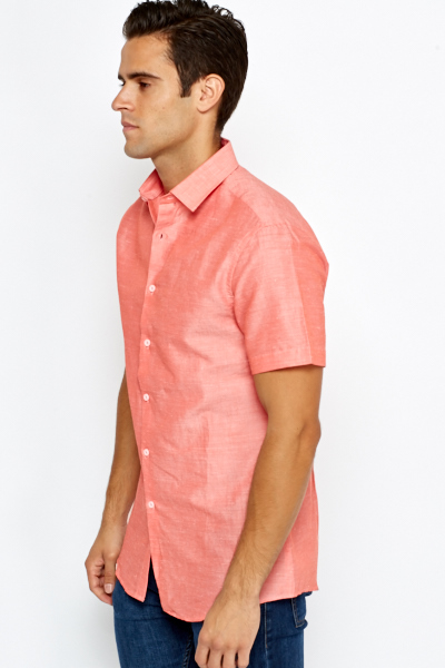 Coral Cotton Short Sleeve Shirt