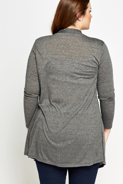 Dark Grey Asymmetric Open Cardigan