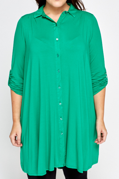 Green Asymmetric Shirt Dress