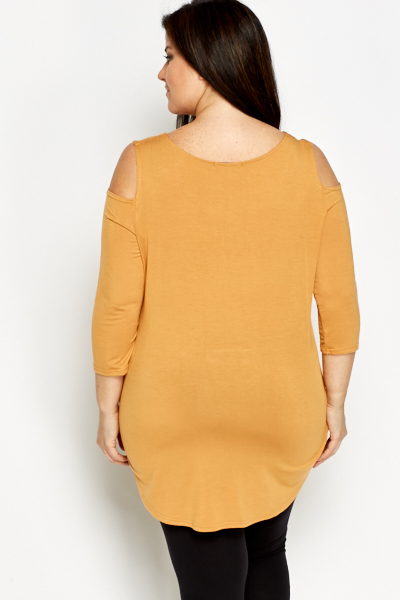 Mustard Cut Out Shoulder Dip Hem Top