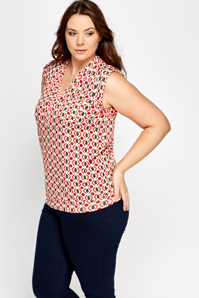 Red Geo Sleeveless Top