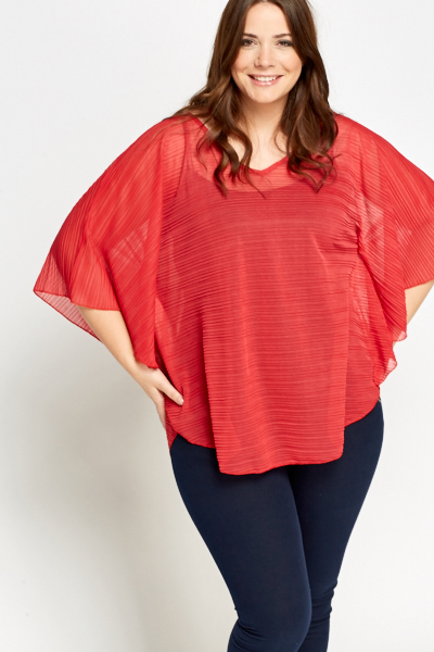 Textured Sheer Poncho Top