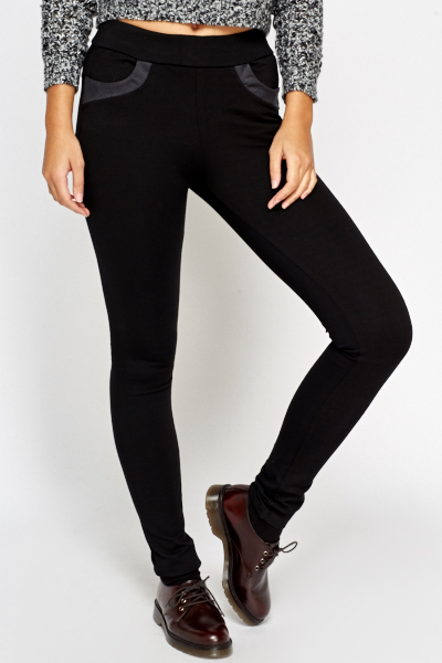 Black Contrast Treggings