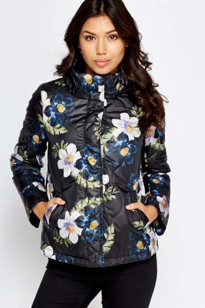 Charcoal Floral Puffer Jacket
