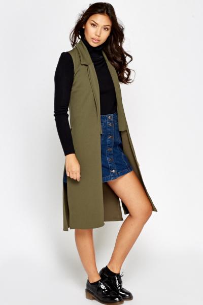 Olive Sleeveless Long Jacket - Just £5