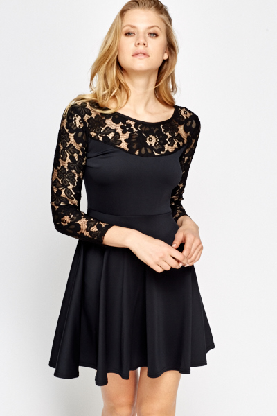 Charcoal Lace Skater Dress - Just £5 2b7128d67
