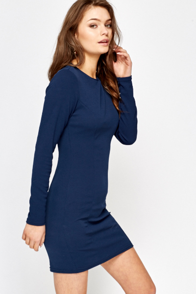Dark Blue Long Sleeve Dress - Just £5