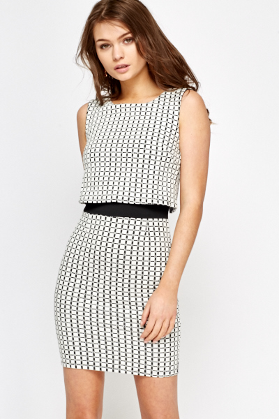 Grid Check Overlay Dress