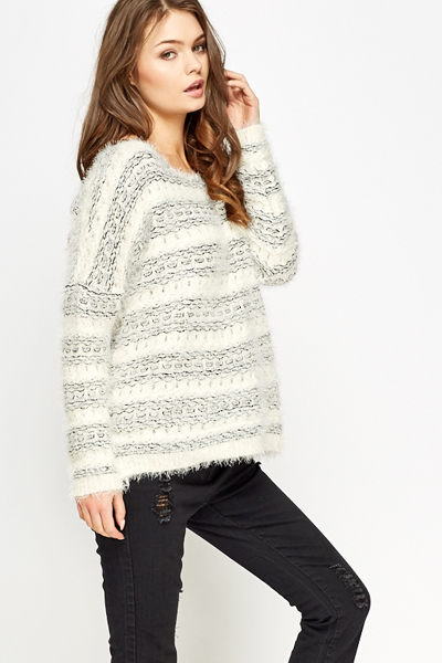 Striped Eyelash Knit Jumper