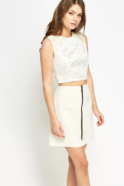 d4f0e58f420153 Embellished Silver Crop Top - Just £5