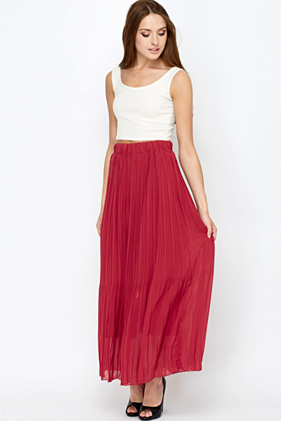 Pleated Maroon Maxi Skirt - Just £5