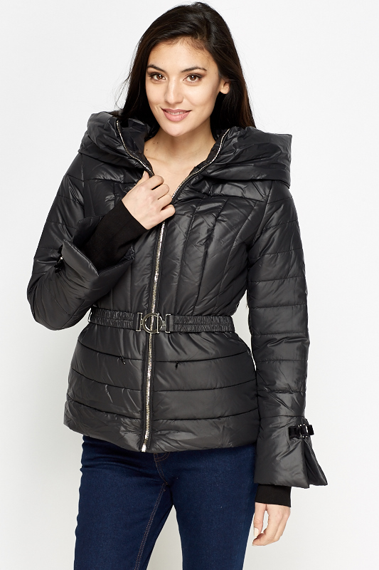 Black Belted Puffer Jacket - Just £5