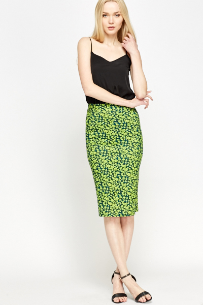Floral Midi Pencil Skirt - Just £1