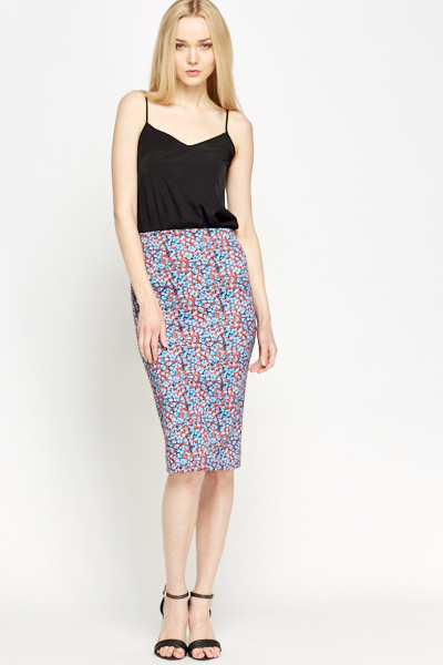 Aztec Grey Midi Pencil Skirt - Just £5