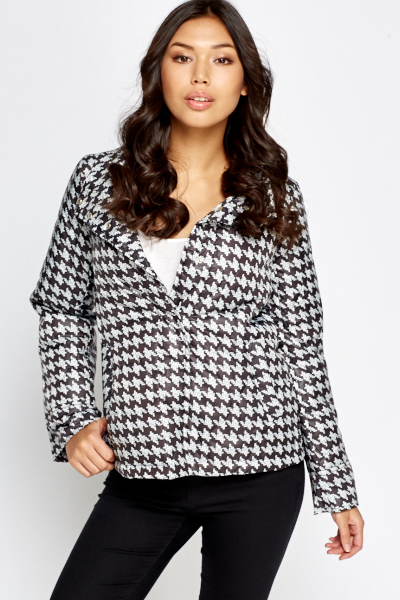 Houndstooth Print Puffer Jacket