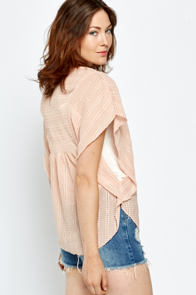 Light Pink Knitted Batwing Top