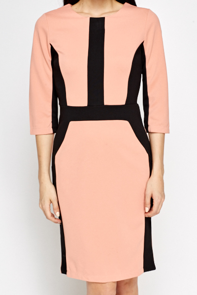 Nude Contrast Pencil Dress