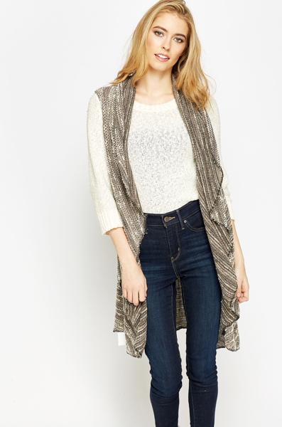 Sleeveless Waterfall Brown Cardigan - Just £5