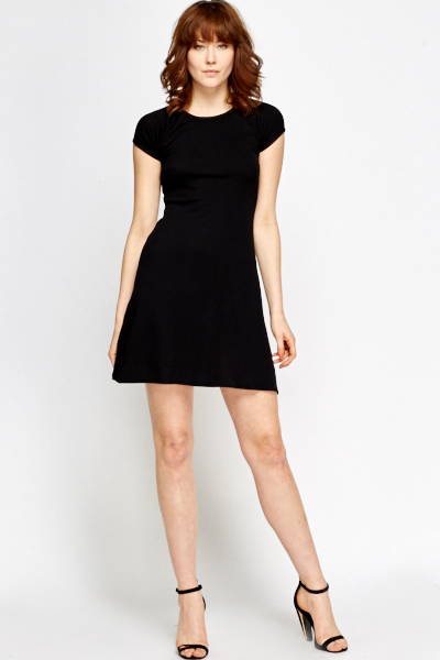 49b7a0916c12 Black Ribbed Jersey Skater Dress - Just £5