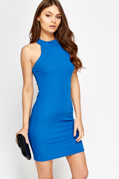 2f9ef606c42308 High Neck Royal Blue Bodycon Dress - Just £5