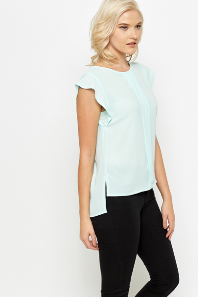 Mint Frill Sleeve Blouse