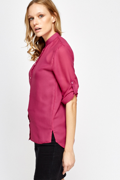 Sheer Button Up Blouse