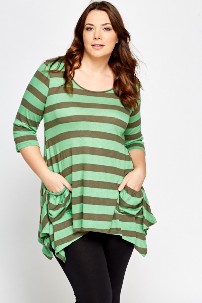 Green Asymmetric Stripe Top