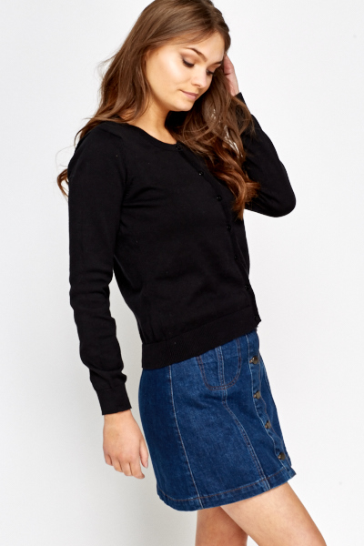 Button Front Black Cardigan