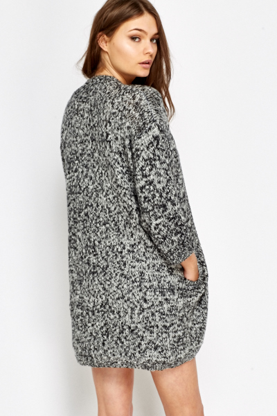 Speckled Round Hem Cardigan