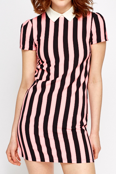 Striped Collared Shift Dress