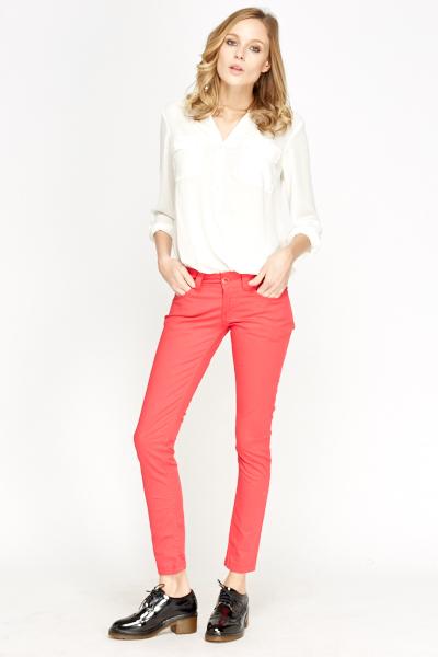 Image of Fuchsia Cotton Blend Jeans