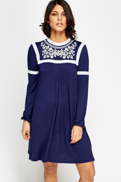 Embroidered Blue Shift Dress - Just £5