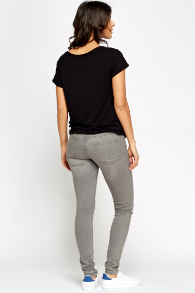 Slim Fit Washed Grey Jeans