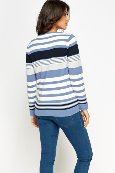 Striped Causal Blue Jumper