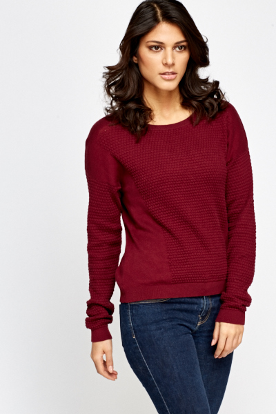 Textured Panel Pullover