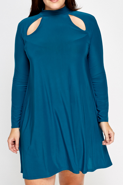 Cut Out Teal Swing Dress