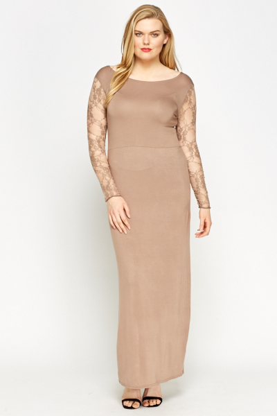 Lace Insert Light Brown Maxi Dress - Just £5